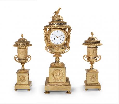 An impressive French three-piece clock garniture