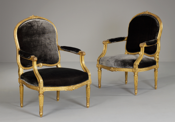 Pair of French Louis XVI Fauteuils à la Reine