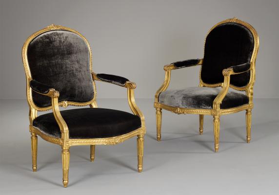 Paar Franse Louis XVI Fauteuils à la Reine