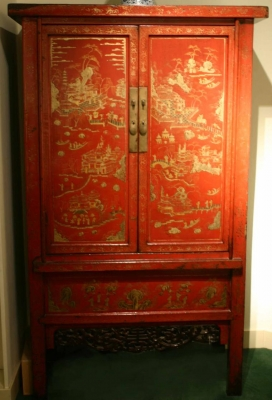 A pair of red lacquer cabinets Antique Chinese Furniture Qing Dynasty