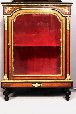 A Swiss amboyna display cabinet, circa 1880
