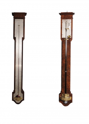 A French Charles X mahogany wall thermometer and barometer (a pair), by Lerebours, circa 1835