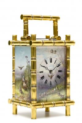 A fine French gilt brass porcelain mounted bamboo case carriage clock, circa 1880.