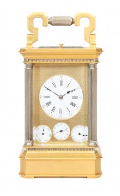 A French gilt brass Anglaise carriage clock with calendar, circa 1870