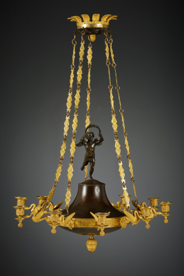 French Empire 10-light discus-shaped chandelier