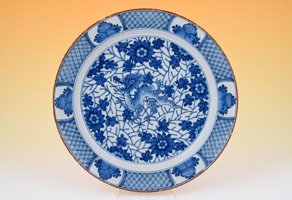 A decorative 18th century Delft dish