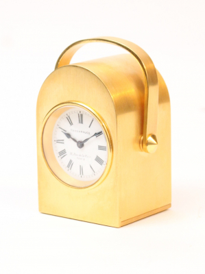 A small French gilt travel clock by Margaine, circa 1880