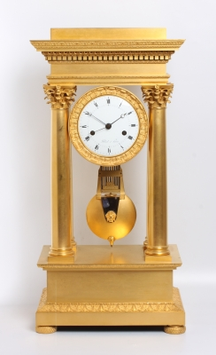 A large French Empire ormolu table regulator by Bled à Paris, circa 1820