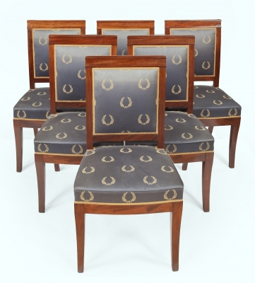 Empire salon set with six fauteuils, six dining chairs and one sofa