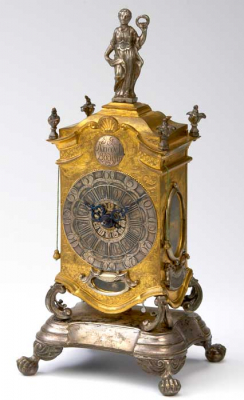 A German rococo mid 18th century travelling clock on a terrace by  Kriedel Budissin, 1749.
