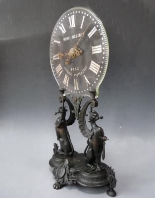 Mystery clock, signed 'Henri Robert Horloge Mystérieuse à Paris', circa 1880.