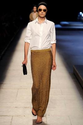 SS 2009 Dries Van Noten Runway Gold Lurex Stretch Knit Maxi Skirt - Dries van Noten