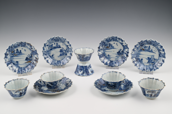A set of six Chinese porcelain  cups and saucers