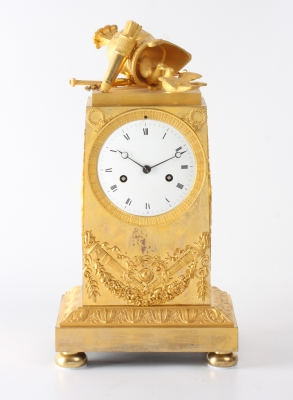 A fine French Empire ormolu mantel clock War and Peace theme, circa 1800.
