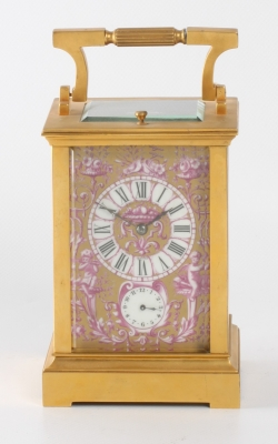 A French Sevres mounted quarter striking carriage clock sold by Shreve Crump & Low Boston, circa 1880