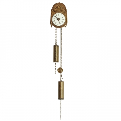 A miniature German Black Forest copper and wood so-called 'Sorg' wall clock, circa 1840