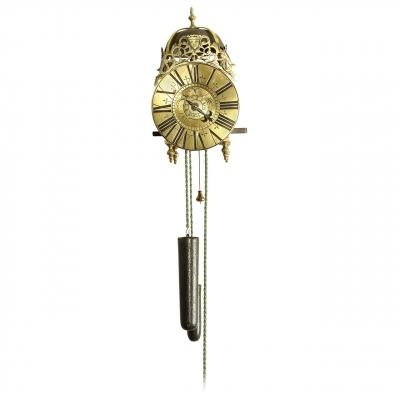 A small French alarm lantern timepiece, by Le Doux, circa 1730
