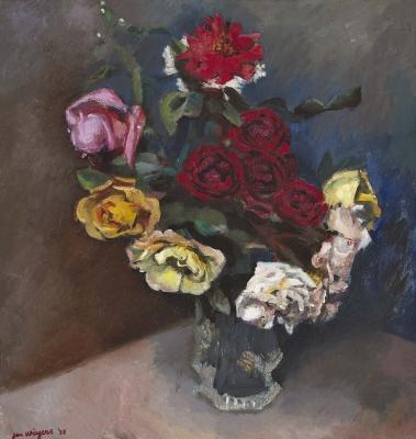 Roses in a vase - Jan Wiegers