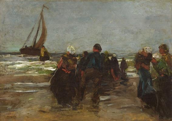 L'arrivée du bateau de pêche - Willem de Zwart