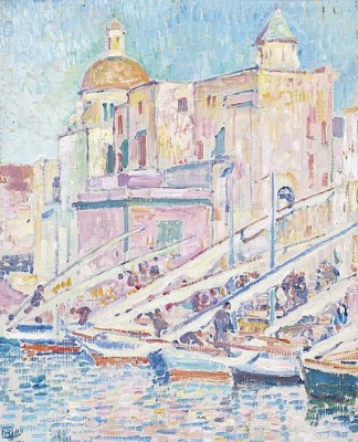 Le port de peche a Pozzuoli pres des Napels 1909