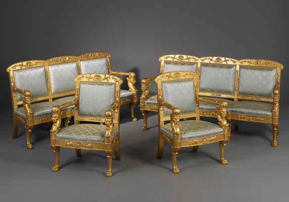 Italian Empire Salon, consisting of two canape's and two armchairs