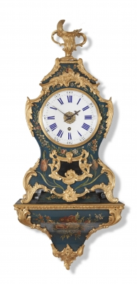 A French Louis XV ormolu-mounted 'vernis Martin' bracket clock on wall bracket, circa 1760