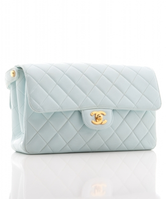 Chanel Light Blue Quilted Double Flap Bag - Chanel