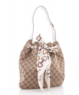 Gucci 'Positano' Scarf Bag in Ivory Canvas  - Gucci
