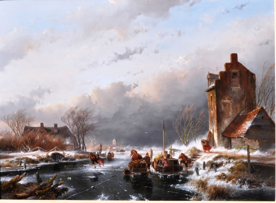 A Dutch winter scene with skaters - Andreas Schelfhout