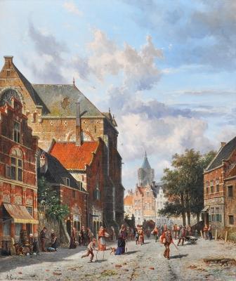 Bedrijvigheid in een Hollandse straat - Adrianus Eversen