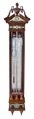 Dutch mahogany Louis Seize barometer with verre églomisé