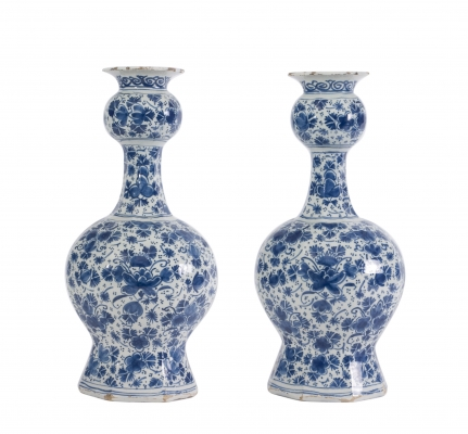 A Pair Octagonal Double-Gourd-Shaped Vases in Blue and White Dutch Delftware