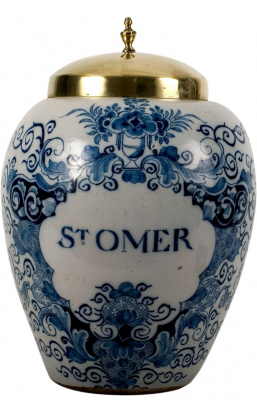 A Blue and White Tobacco Jar in Dutch Delftware 'ST OMER'
