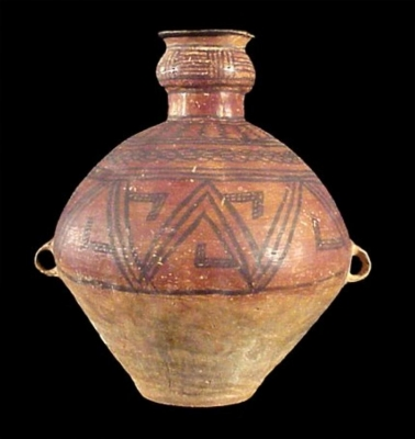 A pottery jar with geometric design Neolithic Chinese Ceramic