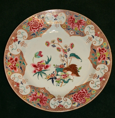 Antique Chinese porcelain plate with floral  famille rose design, QIng dynasty, Qianlong Period Ceramics from China