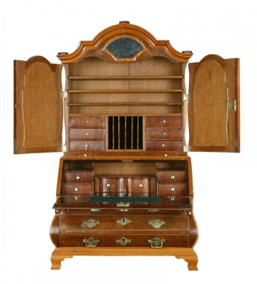 A Miniature Fine Bureau with Top, Also Know as a Mirrortop Bureau