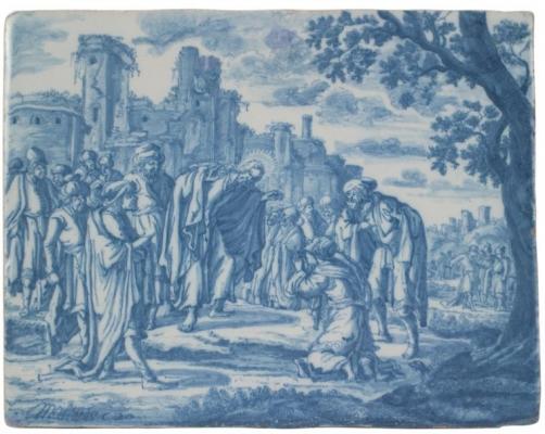 Rechthoekige Plaque In Delfts Aardewerk