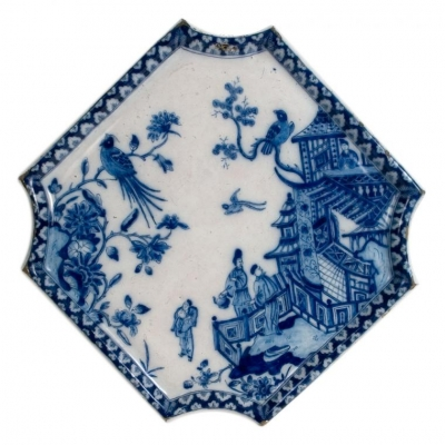 A Blue and White Square Plaque in Dutch Delftware