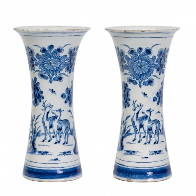 A Pair of Blue and White Dutch Delft Vases