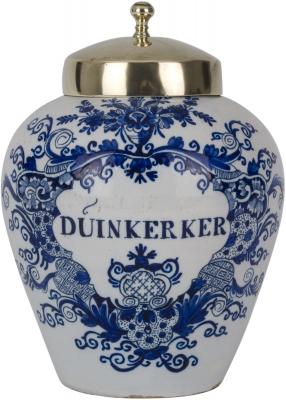 A Blue and White Tobaccojar in Dutch Delftware
