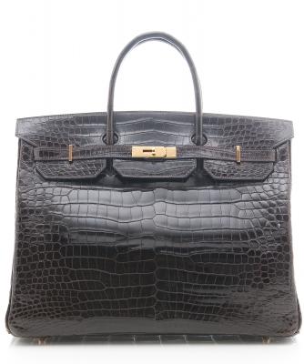 Hermès 'Birkin' Bag 40cm in Shiny Brown Porosus Crocodile  - Hermès