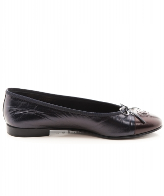 Chanel Bow CC Leather Cap Toe Flats Black/Brown