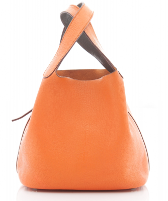 Hermès 'Picotin Lock PM' Bag in Orange Clemence Leather - Hermès