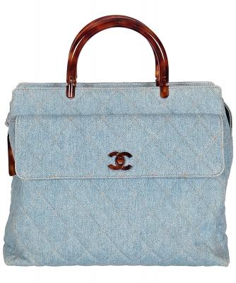 Chanel Denim Handtas met Schildpad Handgrepen - Chanel