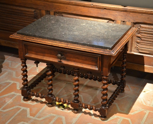 Table with tabletop in bluestone, France, 17th century
