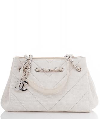 Chanel Witte Canvas Schoudertas - Chanel