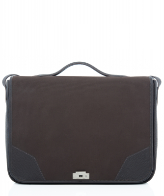 Hermès Musette in Coffee Brown Color Leather and Canvas - Hermès