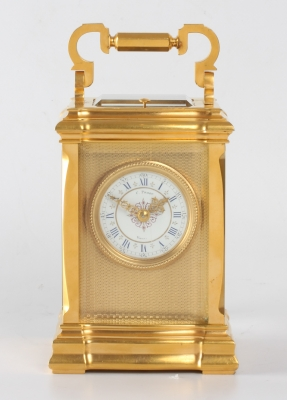 A French gilt brass carriage clock in unusual case, C. Prost, circa 1890.