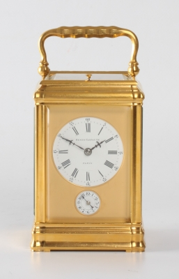 A small French gilt brass Gorge case carriage clock with repeat by Henry Lepaute, circa 1870.