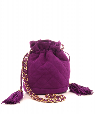 Chanel Drawstring Shoulder Bag in Purple Suede with Double Tassel - Chanel
